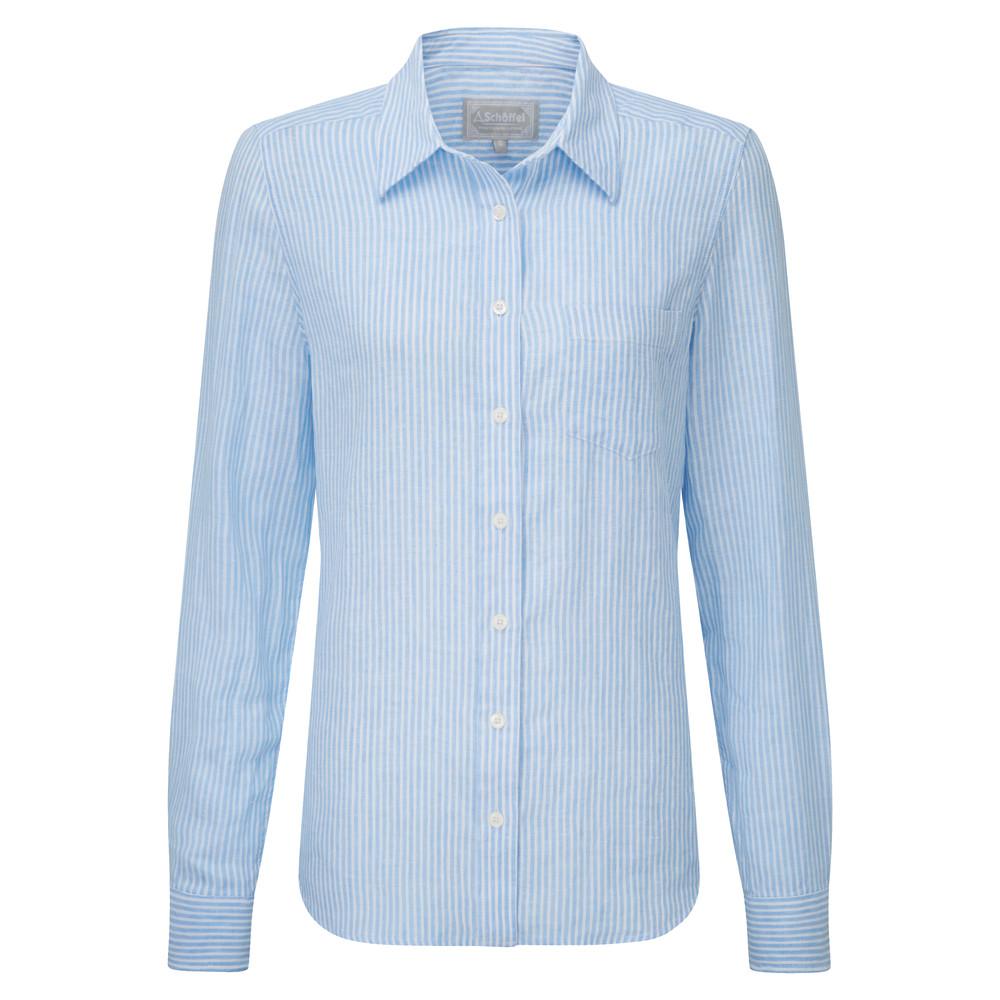 Schoffel Country Saunton Linen Shirt White/Blue Stripe