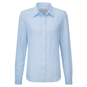 Schoffel Country Saunton Linen Shirt in White/Blue Stripe