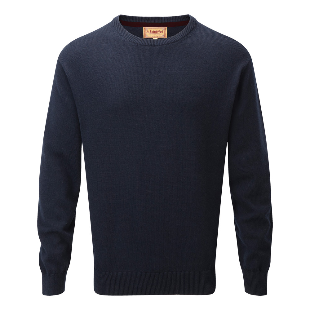 Schoffel Country Cotton Cashmere Crew Navy Blue