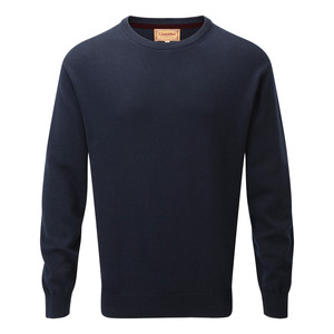 Schoffel Country Cotton Cashmere Crew in Navy Blue