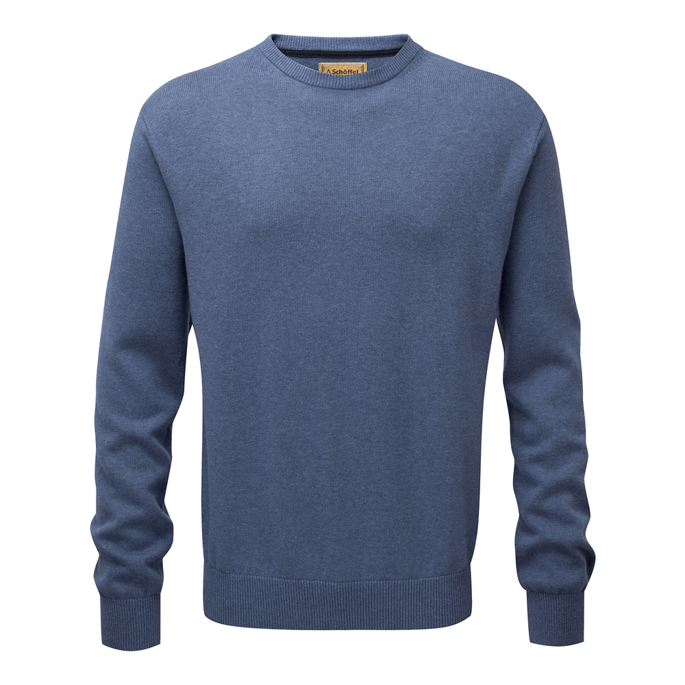 Schoffel Country Cotton Cashmere Crew Stone Blue