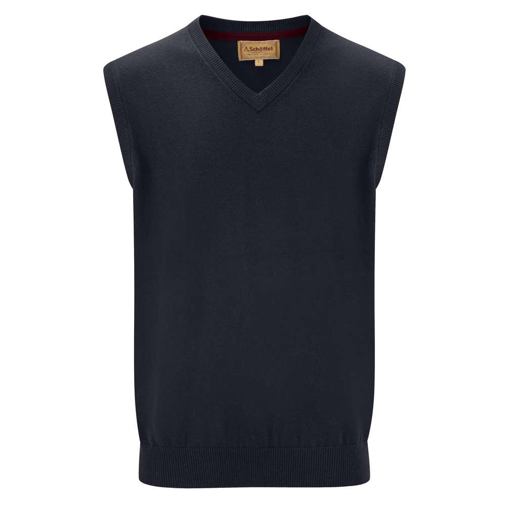 Schoffel Country Cotton Cashmere Sleeveless Navy Blue