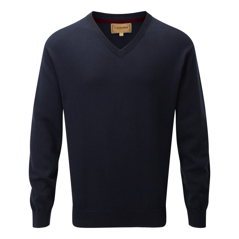 Schoffel Country Cotton Cashmere V Neck Navy Blue