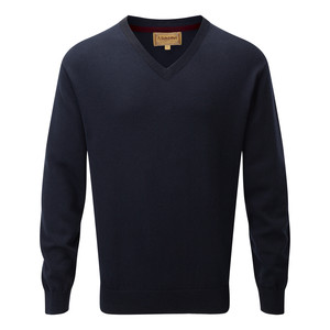 Schoffel Country Cotton Cashmere V Neck in Navy Blue