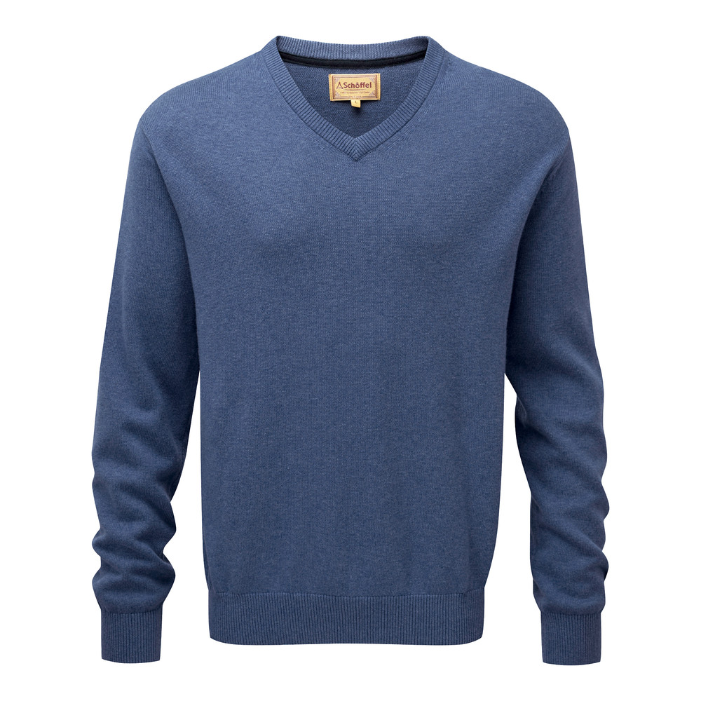 Schoffel Country Cotton Cashmere V Neck Stone Blue