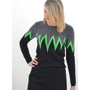 Jumper 1234 Star Burst Crew Knit Jumper Grey/Black/Neon Green