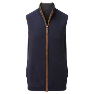 Merino/Cash Gilet Reversible Navy/Charcoal