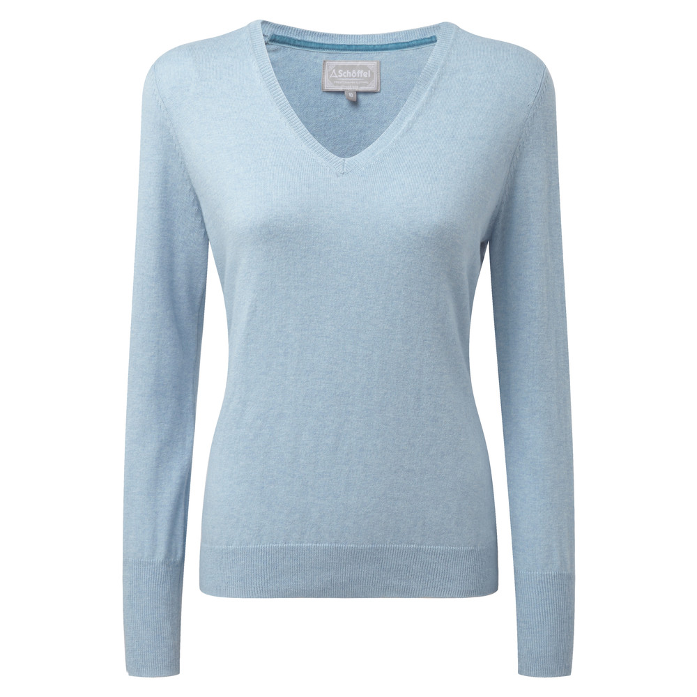 Schoffel Country Cotton Cashmere V Neck Sky Blue