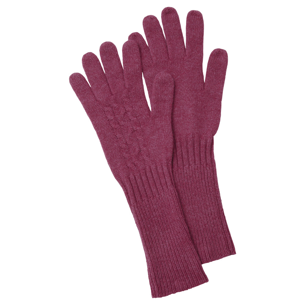 Schoffel Country Cashmere Cable Gloves Raspberry