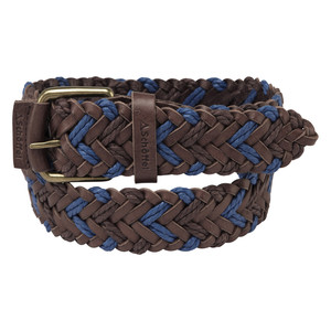 Woven Leather Belt Brown/Blue