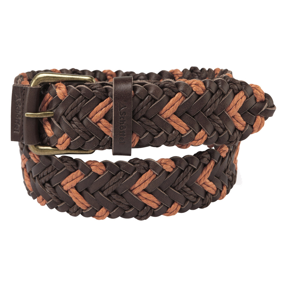 Schoffel Country Woven Leather Belt Brown/Ochre