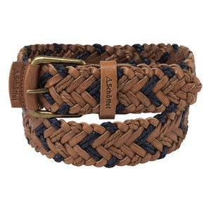 Woven Leather Belt Tan/Navy