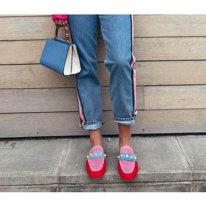 Pirginie Emb Slipper Hot Pink/Red/Blue