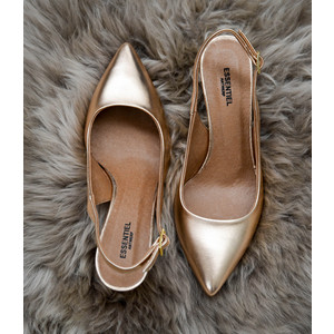 Proxy Pointed Shoes Sling Back Heel Rose Gold