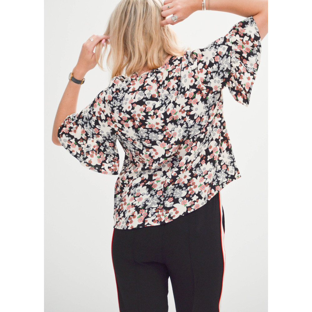 Essentiel Antwerp Rocknroll Floral Oversized Top Black/Off White/Pink
