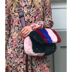 Reflection Stripe Faux Fur Bag Green/Red/Blue