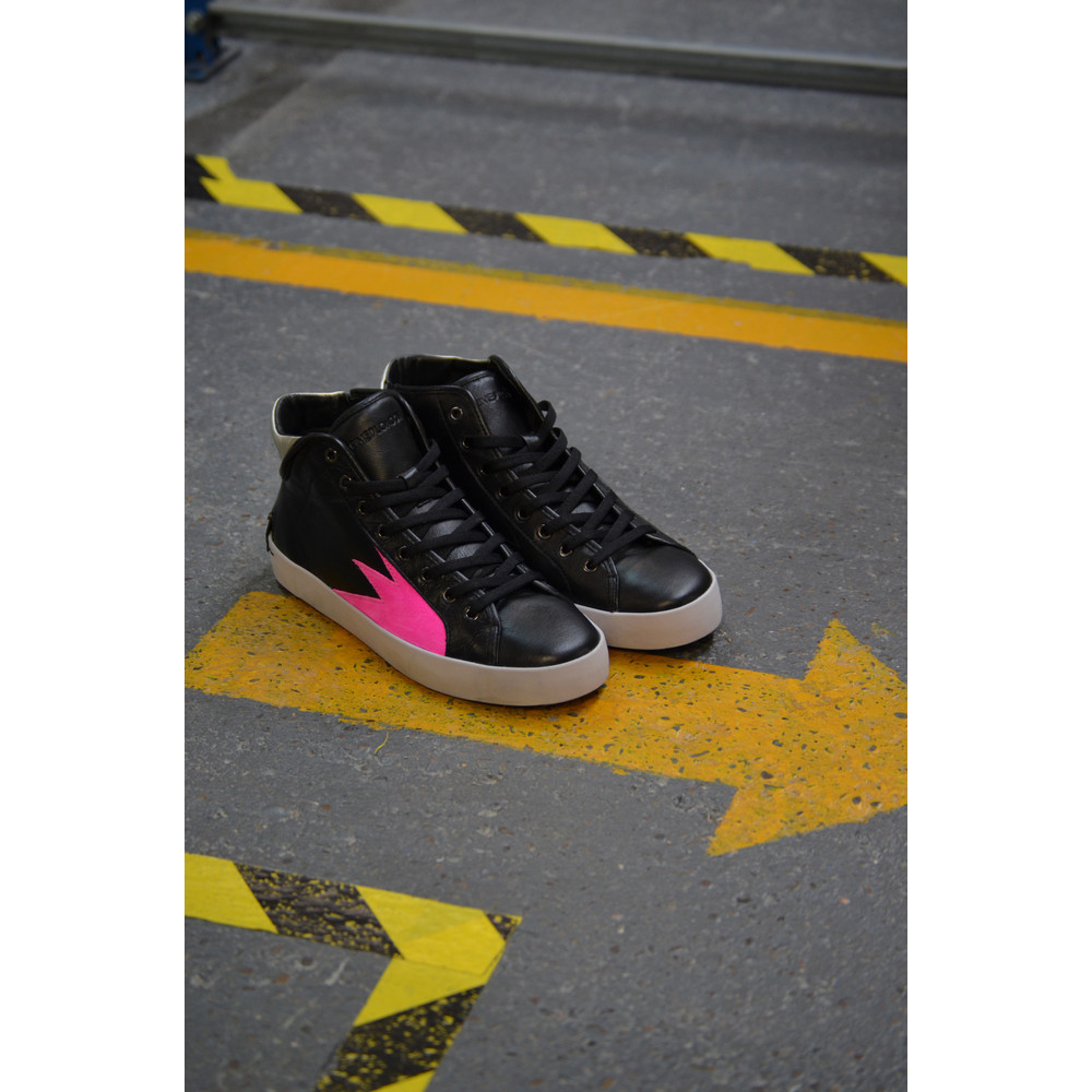 Crime London Faith Hi Trainer Black-Silver-Bubblegum