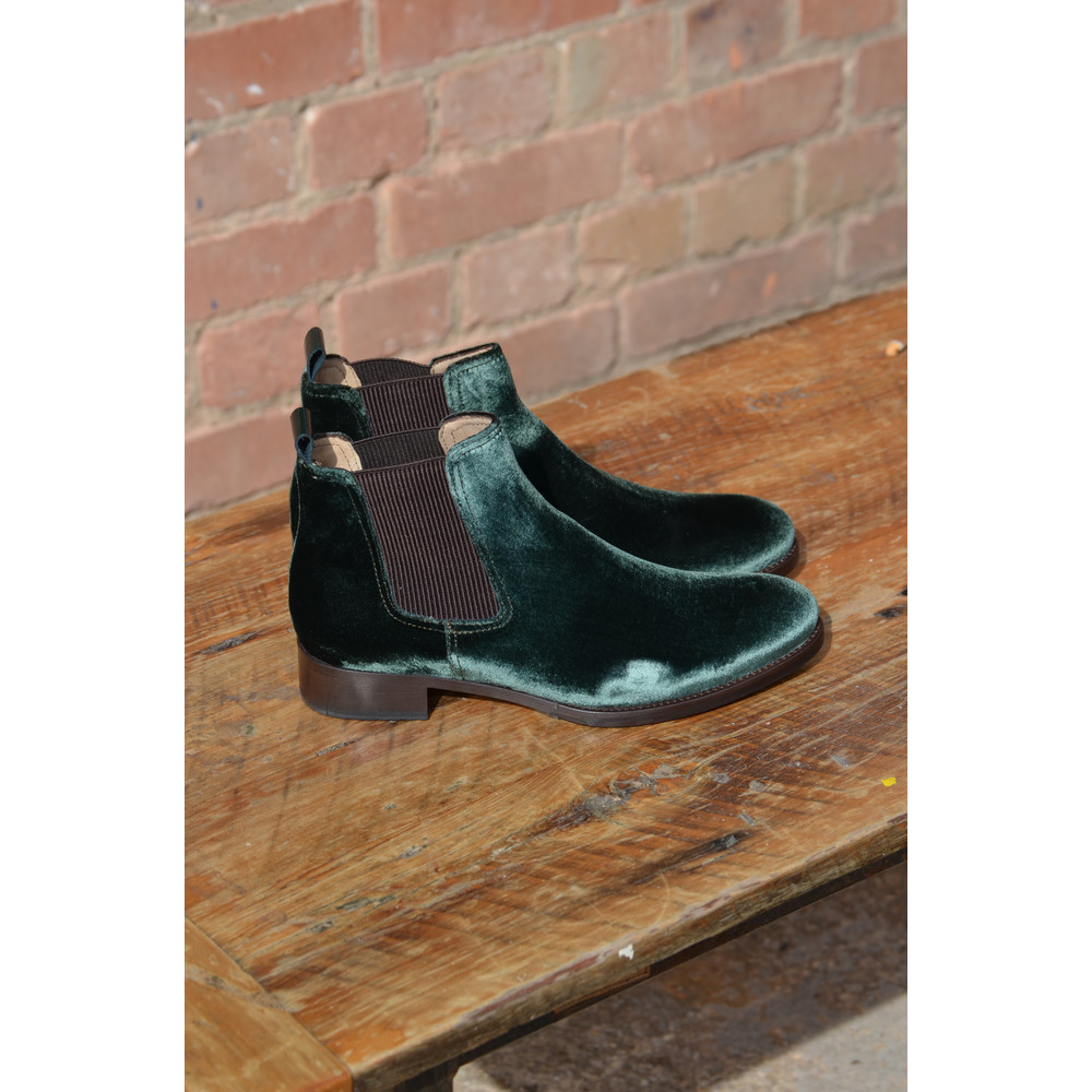 Calpierre Velvet Ankle Boot with Stretch Sides Dark Green