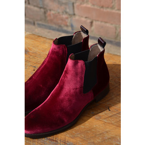 Calpierre Velvet Ankle Boot with Stretch Sides Red