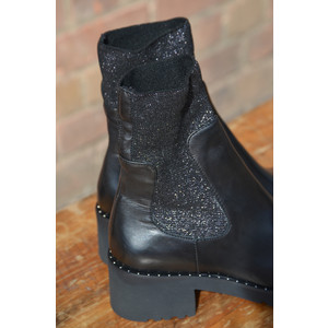 Lurex Stretch Boot with Mini Stud Trim Black