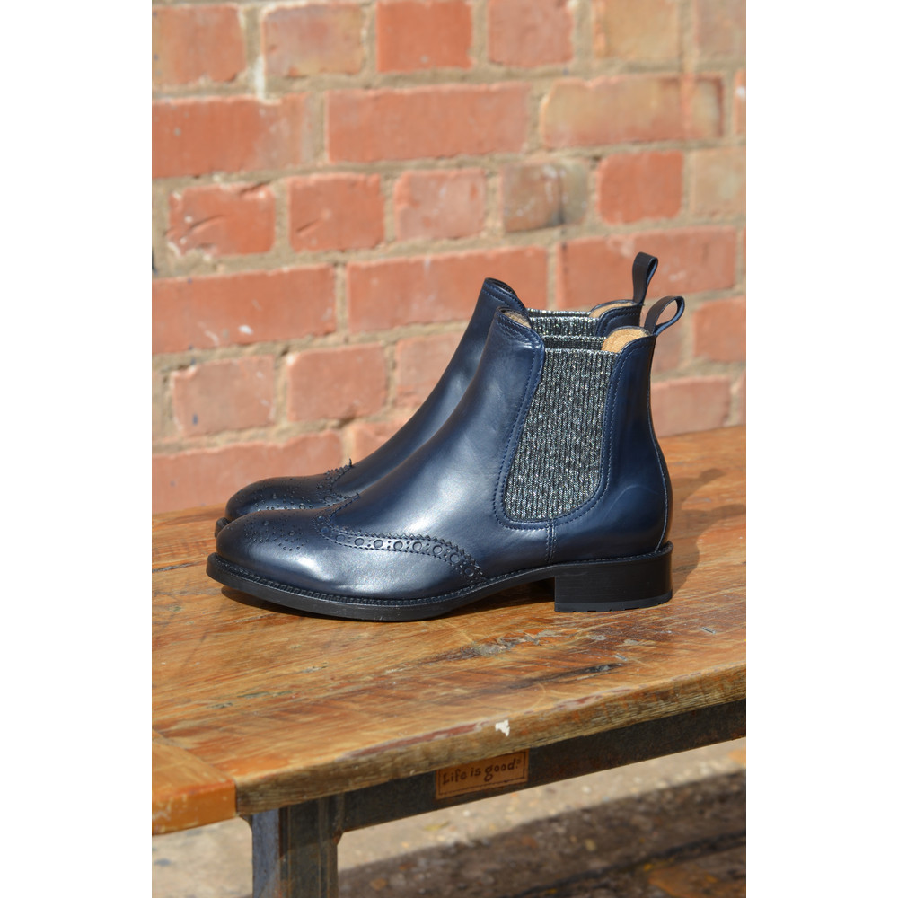 Calpierre Brogue Ankle Boot with Lurex Stretch Sides Navy