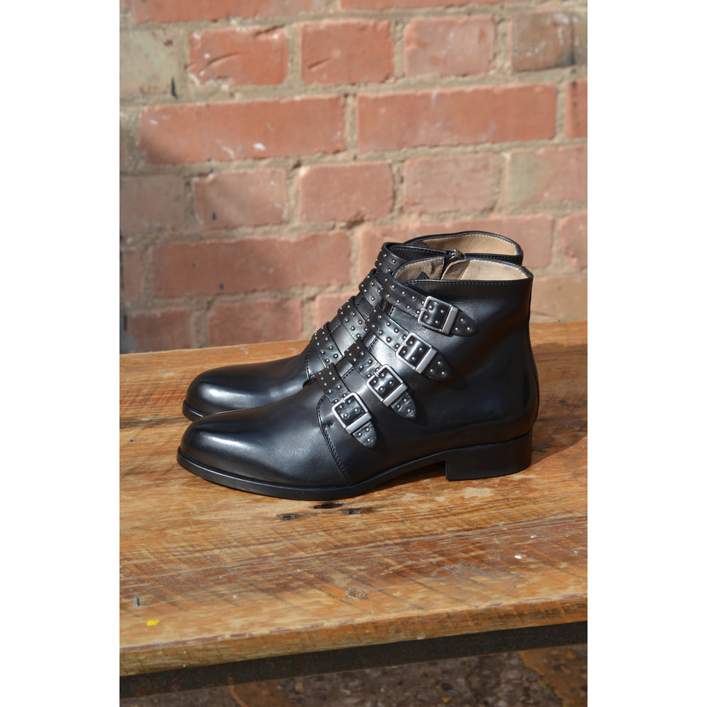 Calpierre Studded Buckle Boot Black
