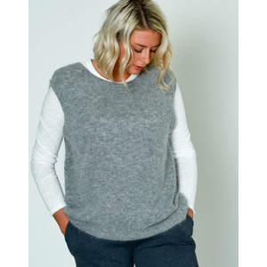 Mitibird Slv/Less Knit Round Collar Jumper Heather Grey