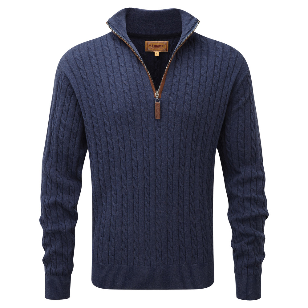 Schoffel Country Cotton Cashmere Cable ¼ Zip Indigo