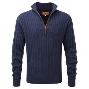 Cotton Cashmere Cable ¼ Zip Indigo
