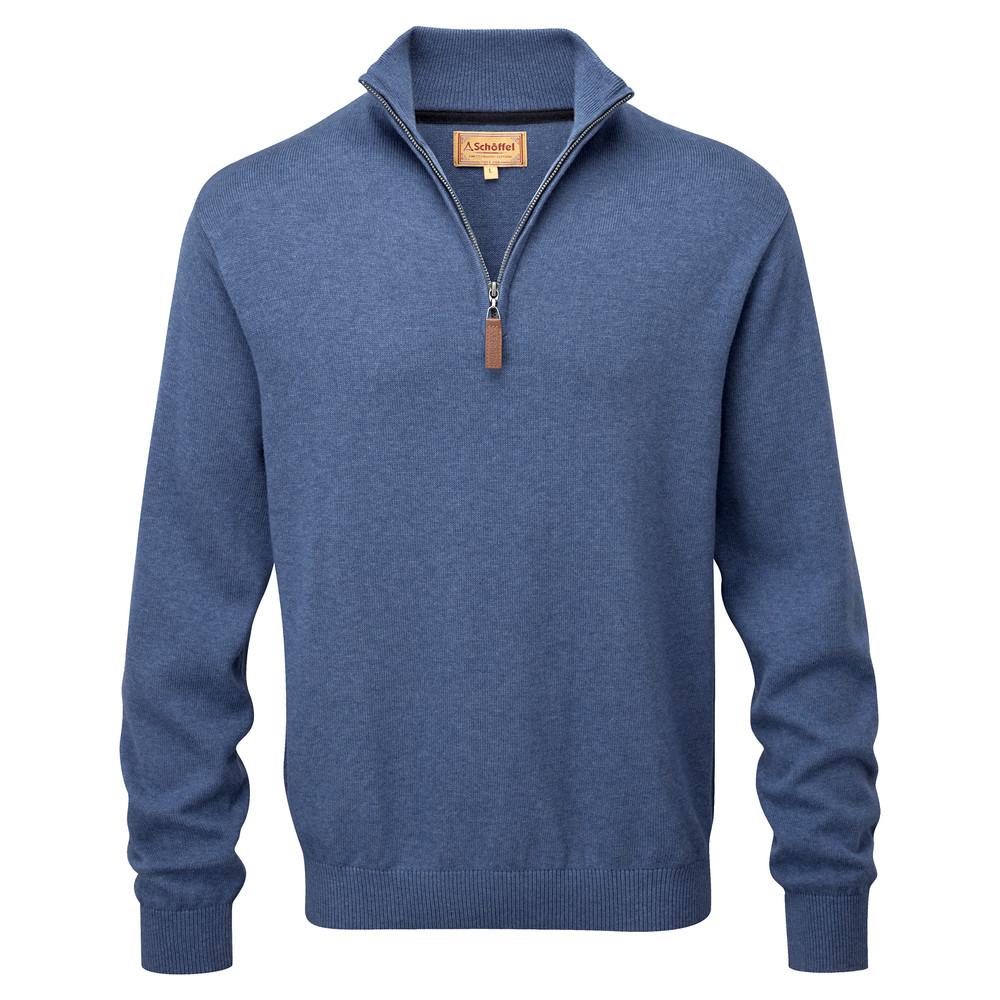 Schoffel Country Cotton Cashmere ¼ Zip Stone Blue