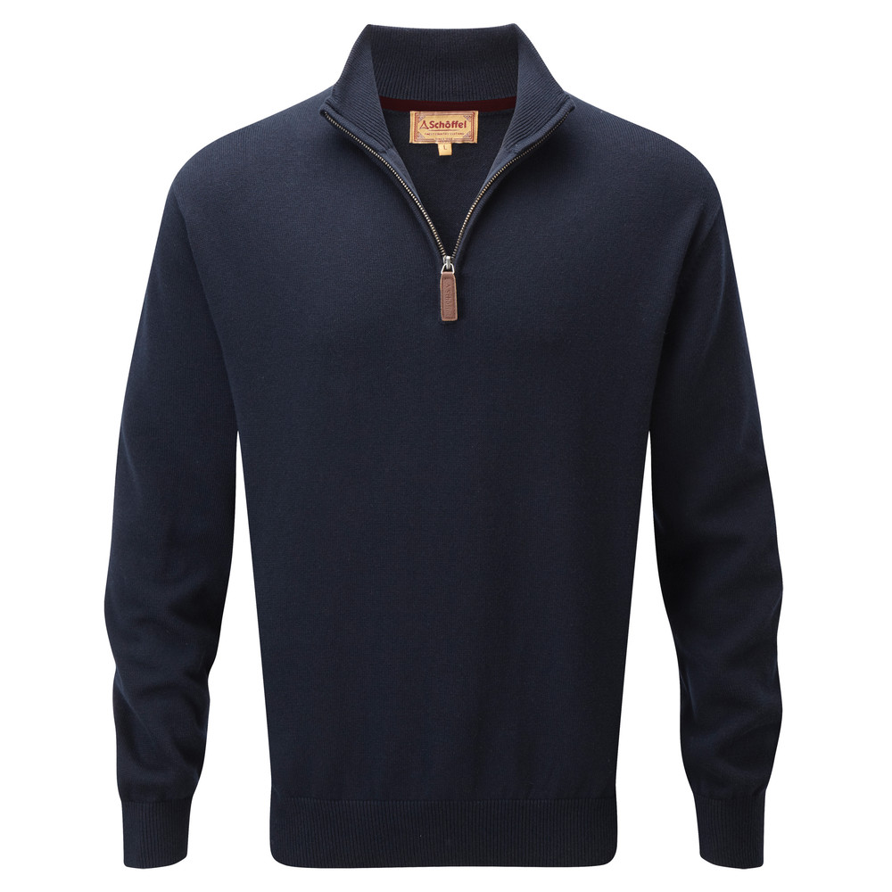 Schoffel Country Cotton Cashmere ¼ Zip Navy