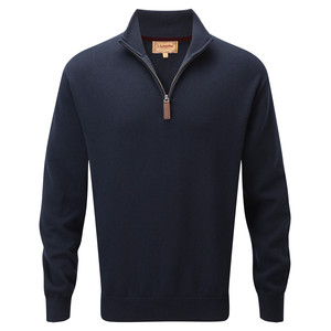 Cotton Cashmere ¼ Zip Navy