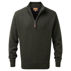 Lambswool Aerobloc Jumper ¼ Zip Loden Green