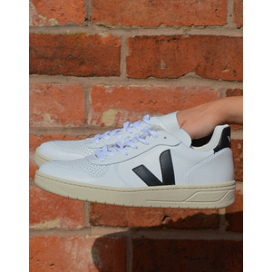 V-10 Leather Trainer Black Extra White
