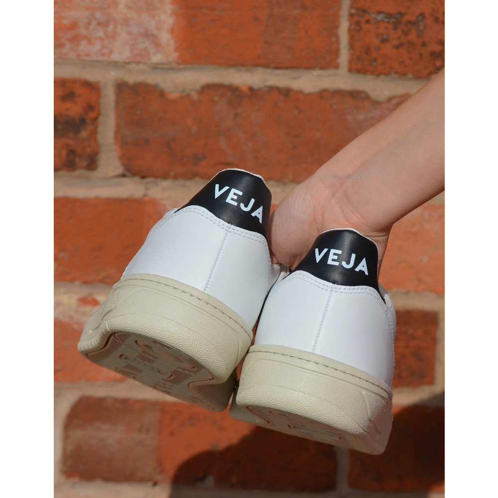 Veja V-10 Leather Trainer Black Extra White