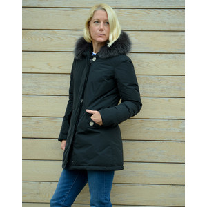 Luxury Arctic Parka Fur Trim Hood Black