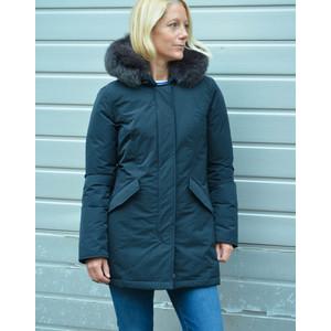 Luxury Arctic Parka Fur Trim Hood Midnight Blue