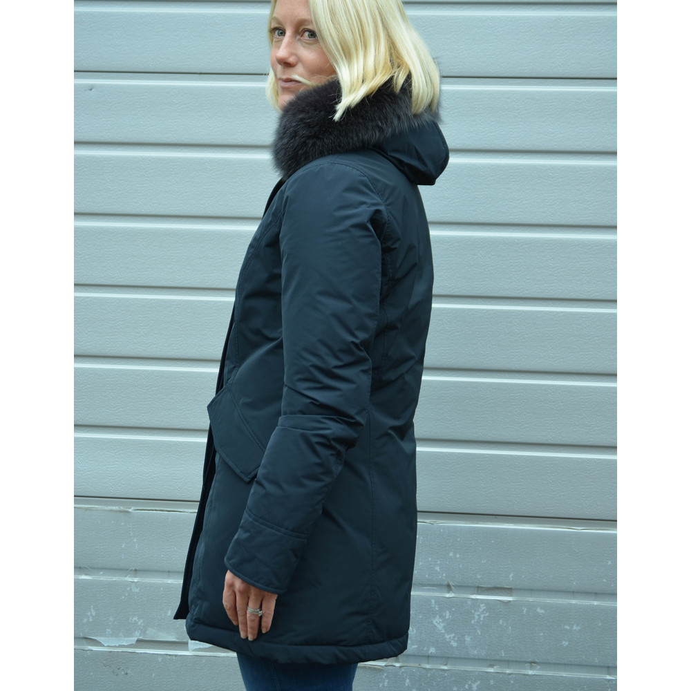 Woolrich Luxury Arctic Parka Fur Trim Hood Midnight Blue