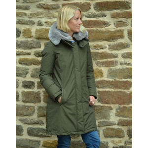 Bow Bridge Coat Fur Hood Dark Green