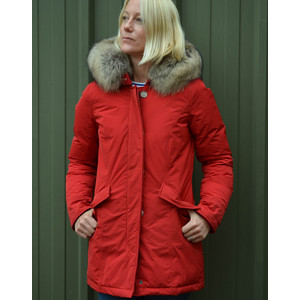 Woolrich Lux Arctic Parka Fur Trim Hood Red French Kiss