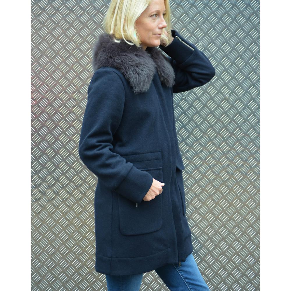 Woolrich Track Fur Collar Coat Zip Cuffs Melton Blue