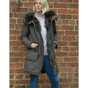 Military Parka Coat Fox Trim American Coffee