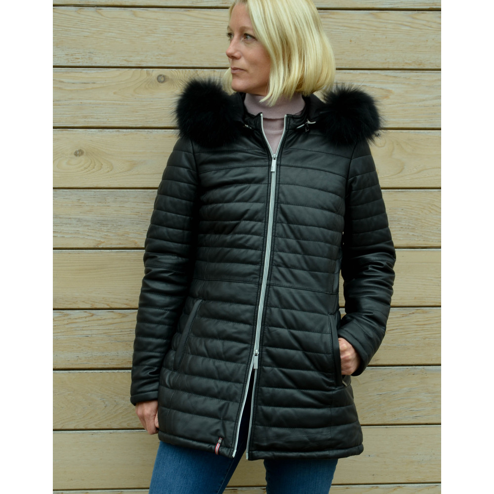 Oakwood Poppy Luxe Coat Fur Trim Hood Black