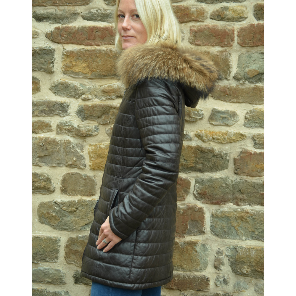 Oakwood Popping Leather Jkt Fur Trim Hood Chocolate