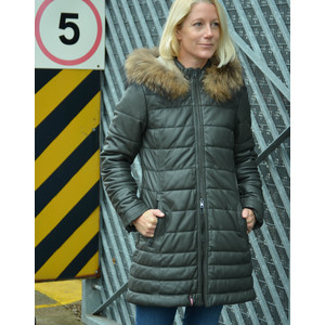 Oakwood Mary Long Coat Fur Trim Hood Dark Khaki