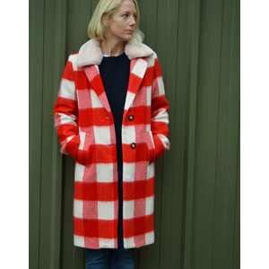 Rosso Check Coat with Fur Collar Red/White