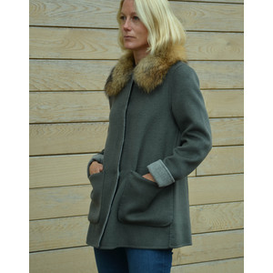 Peyton Fur Collar Coat Reversible Bronze/Grey
