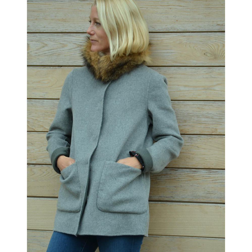 Oakwood Peyton Fur Collar Coat Reversible Bronze/Grey