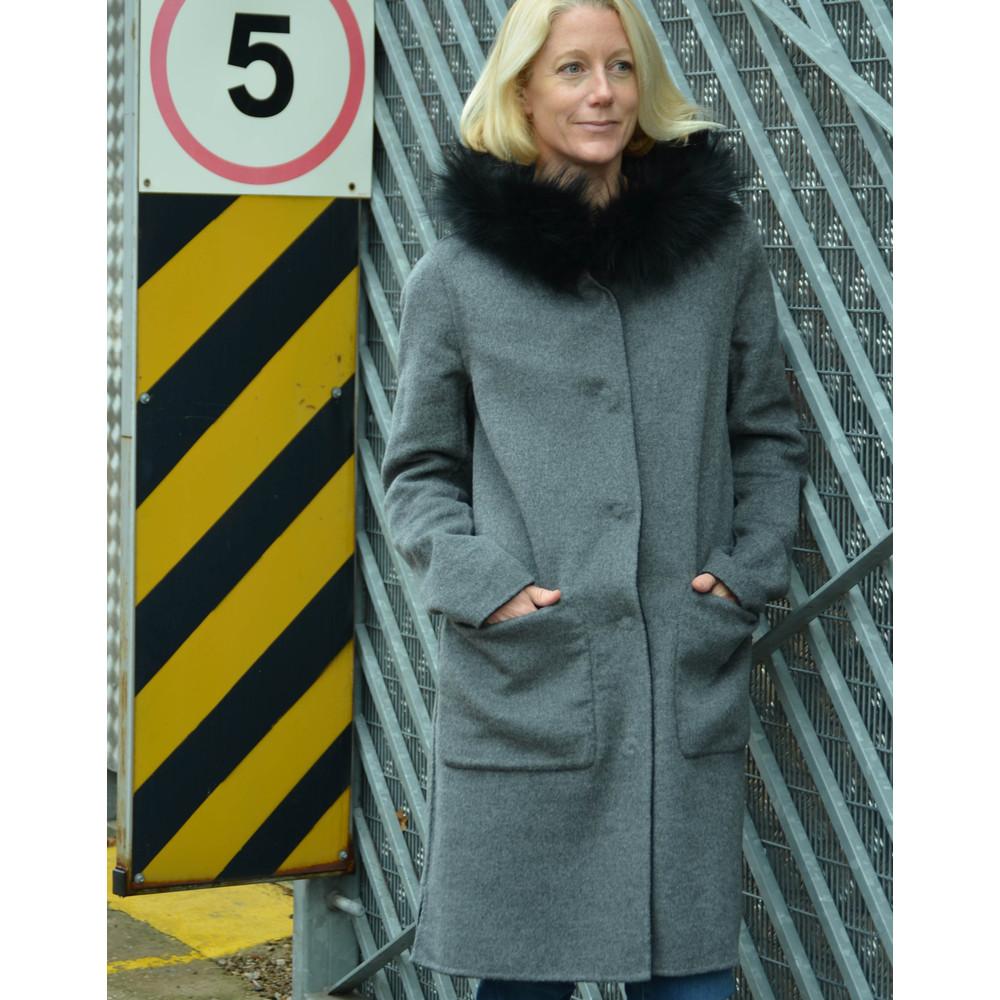 Oakwood Yale Reversible Coat Fur Trim Hood Black/Grey