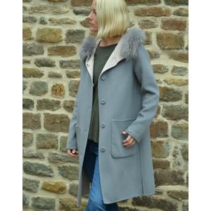 Oakwood Yale Reversible Coat Fur Trim Hood Light Pink/Grey